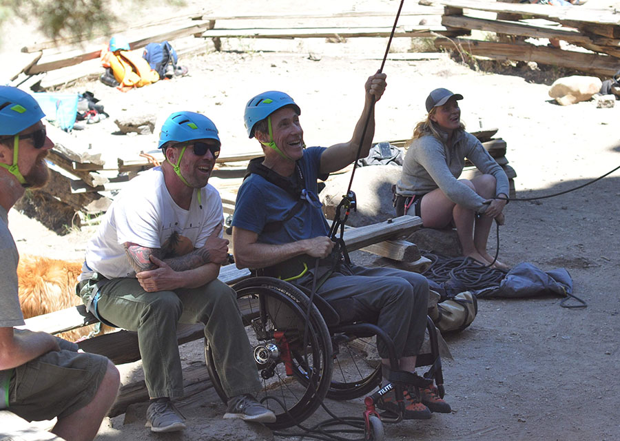 climber belaying from wheelchair