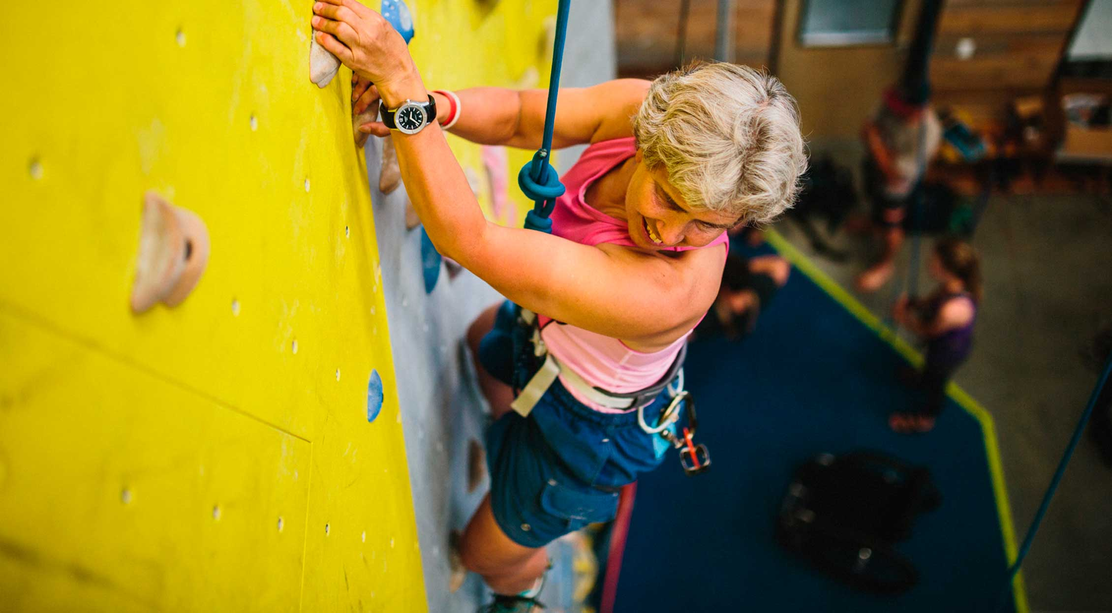 adaptive athlete rock climbing bend rock gym