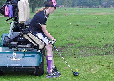 adaptive athlete golfing using adaptive cart at awbrey glen golf course