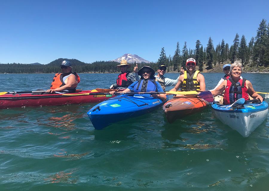 group of kayakers at sparks lake
