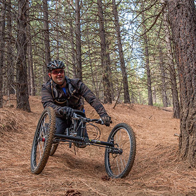 off road hand cyclist on trail