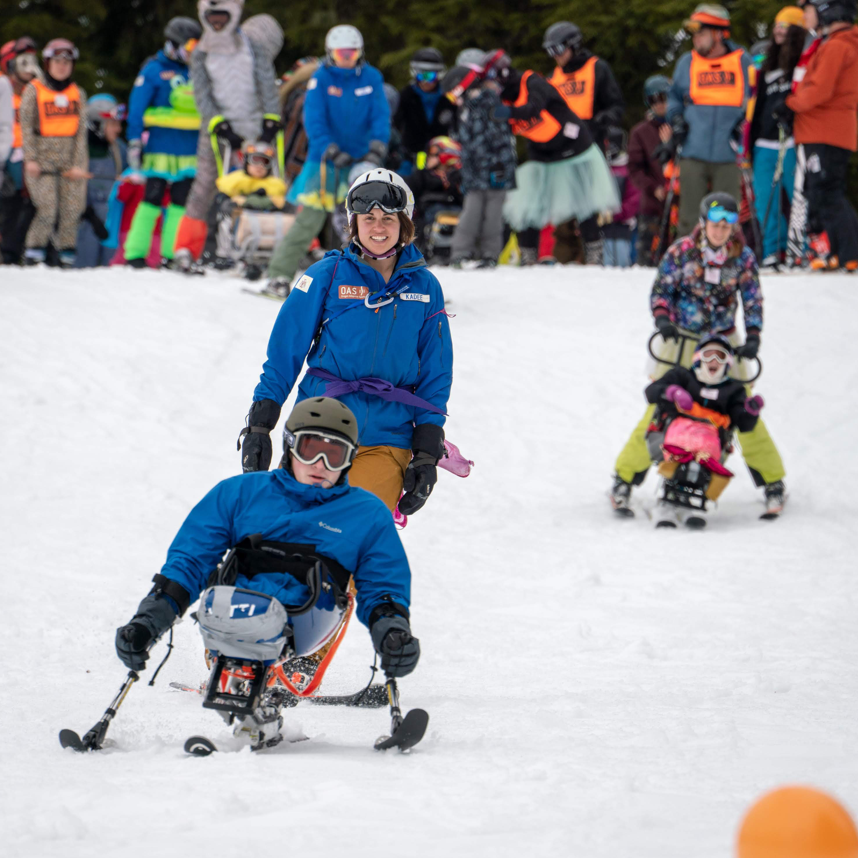 Youth with a disability in a sit ski at Hoodoo ski resort