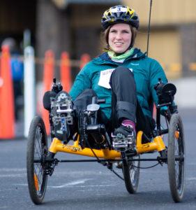 athlete yvonne on recumbent cycle starting bike leg of ppp