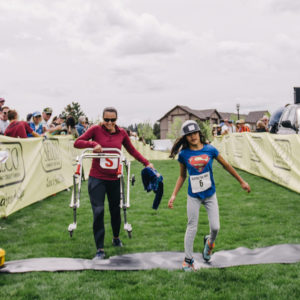 OAS athlete ditches her walker with her mom to finish the sprint finish at the ppp