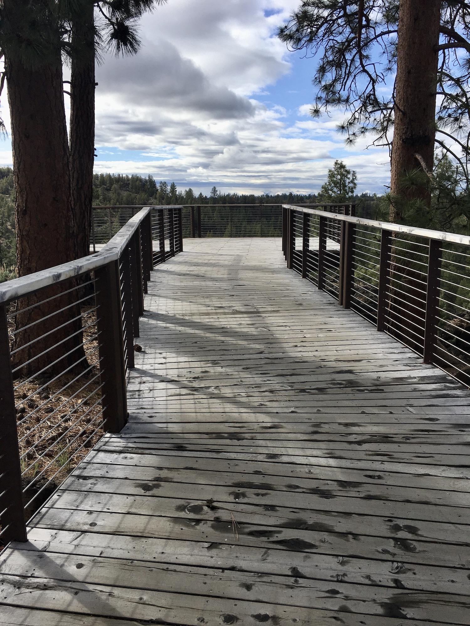 wood walkway to viewpoint at riley ranch