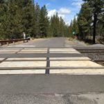 railroad track crossing of path