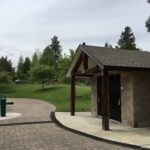 blakely park restroom from outside with paver path around