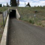 paved path goes downhill and into tunnel