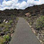 paved path through lava fields