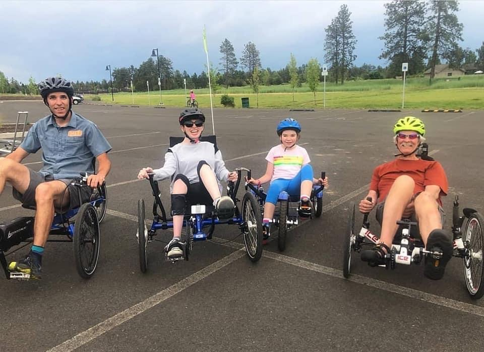 four OAS athletes on bikes at pine nursery park