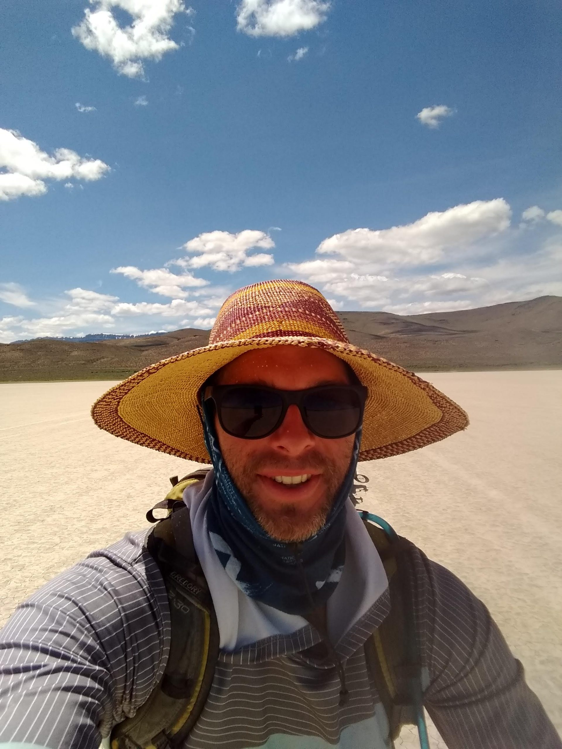 matt in all his sun protective clothing at the alvord desert