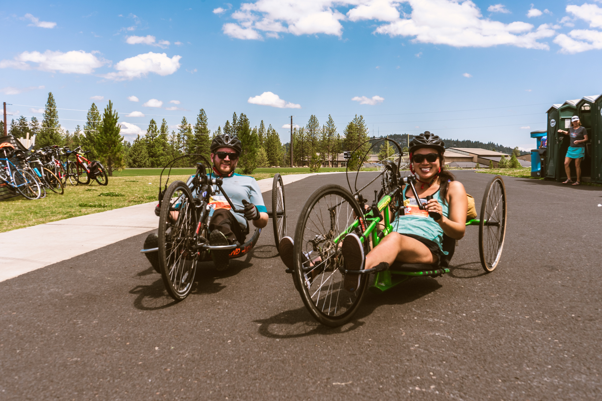 anna and carl on handcycles in northwest crossing