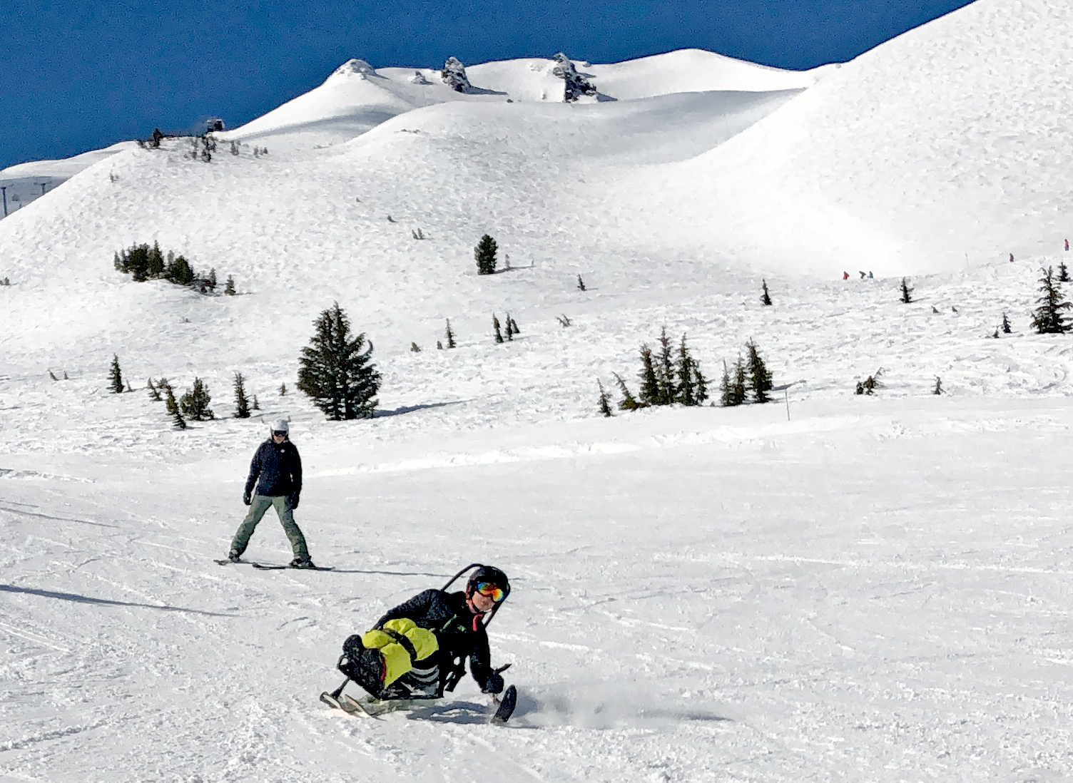 Ken skiing on a sunny day at Mt Bachelor