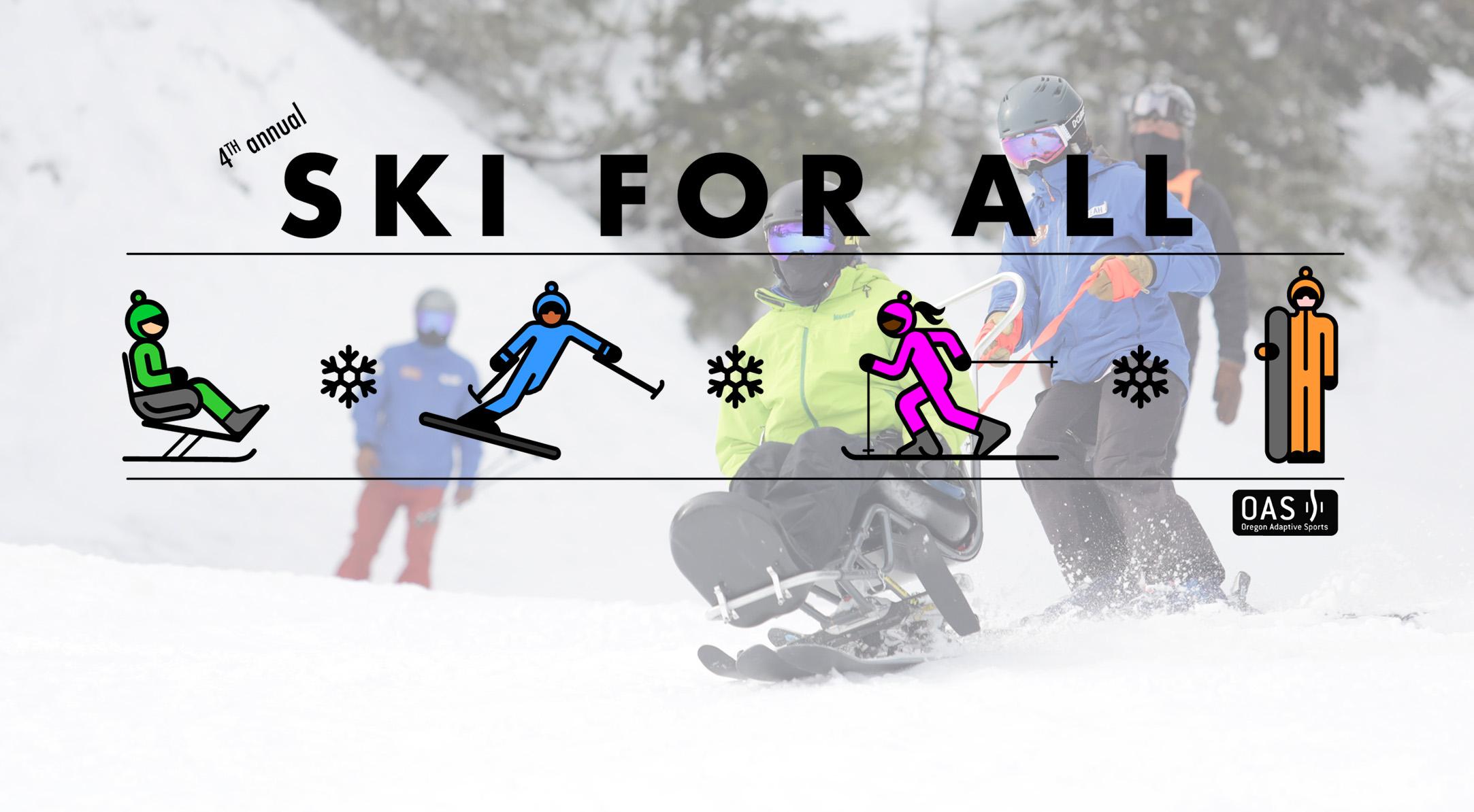 banner for 4th annual ski for all, has event logos, sponsor logos
