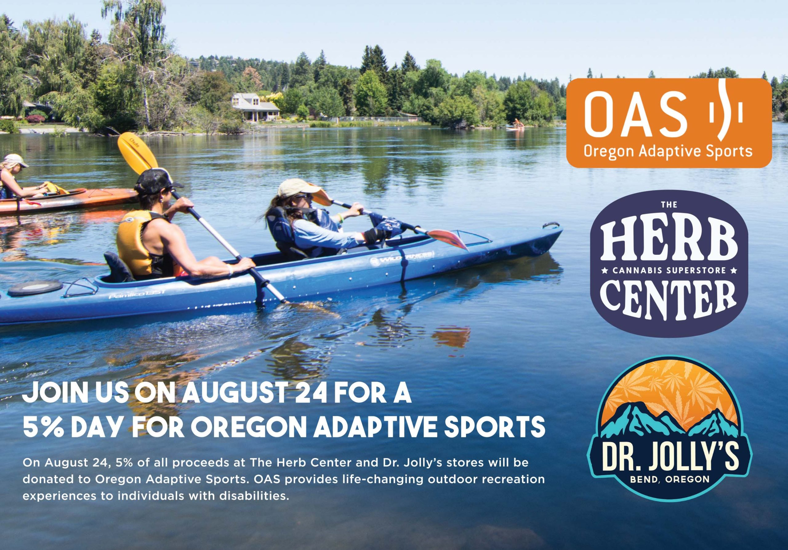 OAS athlete kayaking with business logos super imposed on top